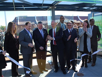 Among the officials at the ribbon-cutting for the new service, were Philadelphia Mayor Jim Kenney (center left) and SEPTA GM Jeff Knueppel (center right). Photo: SEPTA