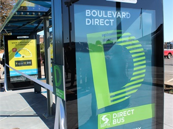 Boulevard Direct stops (new shelter design pictured) were chosen as a result of SEPTA ridership analysis. Photo: SEPTA
