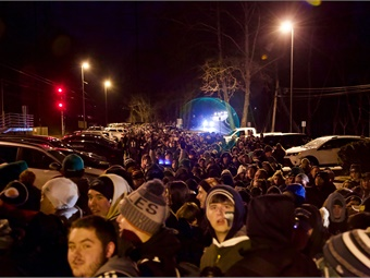 Eagles fans lined up at SEPTA stations before dawn to travel to downtown Philadelphia for the Super Bowl celebration. Photo: SEPTA