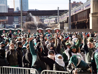 After the parade and ceremony, fans wait in lines at 30th Street Station to make the trip home. Photo: SEPTA