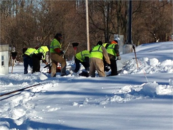 Crews digging out from knee-high snow at SEPTA's Frazier rail yard in Chester County, Pa. Photo: SEPTA