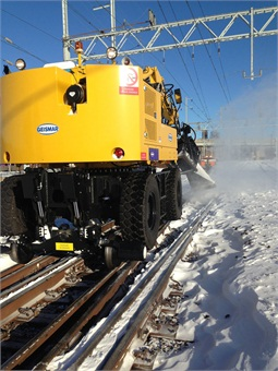 Geismar 360 equipment clearing snow off of SEPTA Regional (commuter) Rail. Photo: SEPTA