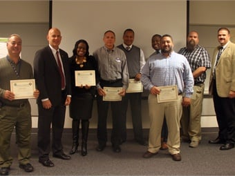 SEPTA employees that recently completed the Supervisors' Safety Development Program (GM Jeff Knueppel is second from left and Assistant GM of System Safety Scott Sauer is far right). Photo: SEPTA