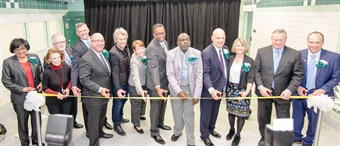 The ribbon cutting ceremony was attended by Philadelphia Mayor James Kenney (second from right in the photo), Philadelphia City Council President Darrell Clarke (eighth from left) and Jon Bon Jovi (sixth from left). Bon Jovi's Jon Bon Jovi Soul Foundation supports Project HOME and the Hub of Hope. Also in the ribbon cutting photo are SEPTA Chairman Pasquale T. Deon, Sr. (fifth from left), Sister Mary Scullion, Project HOME Co-founder and Executive Director (seventh from left) and SEPTA GM Jeff Knueppel (fourth from right). Photo: Adam Dall