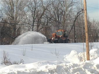 The jet engine-equipped blower clearing snow from the Norristown High Speed Line, which has an electrified third rail. Photo: SEPTA