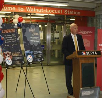 SEPTA Deputy General Manager Jeff Knueppel talks about the new overnight weekend subway service at a rally for customers.