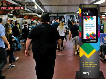 SEPTA stations will feature NRG Go portable power packs that people can rent to charge phones and other electronic devices while they travel or attend events at the Sports Complex. Image: NRG