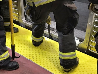 Firefighters review how to open doors of SEPTA trains. Photo: SEPTA