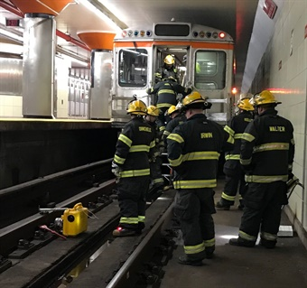 SEPTA provides awareness training that allows firefighters and paramedics to practice their response procedures for rail incidents. Photo: SEPTA