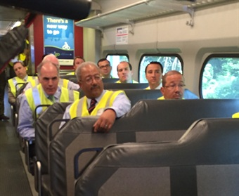 U.S. Senator Casey and  U.S. Reps. Ryan Costello, Pat Meehan and Chaka Fattah riding SEPTA's test train. Photo: SEPTA