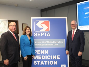 (left to right) SEPTA Board Chairman Pasquale T. Deon Sr.; SEPTA GM Leslie S. Richards; and University of Pennsylvania Health System CEO Kevin Mahoney with new signage for the rebranded station.