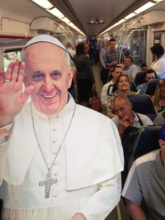 "Earlier this summer, SEPTA's marketing team did a ""PopUpPope"" promotion, where they posed a Pope cutout at different stations and on trains and buses."