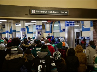 Suburban trolley riders head to the Market-Frankford Line at 69th Street Transportation Center for trains to Center City. Photo: SEPTA