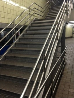 A stairwell at the 13th Street Market-Frankford Line Station after it was cleaned. Photo: SEPTA
