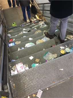 Trash left behind by thousands of parade goers at SEPTA stations, like the 13th Street Market-Frankford Line Station, was completely clear by 4 a.m. the next day, for the start of service. Photo: SEPTA