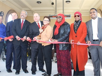 "Pictured (left to right): Councilwoman Cindy Bass,; SEPTA GM Jeffrey D. Knueppel; U.S. Rep. Chaka Fattah; SEPTA Board Chairman Pasquale T. ""Pat"" Deon Sr.; FTA Acting Administrator Therese McMillan; Majeedah Rashid, Executive Director, Nicetown CDC; Faatimah Gamble, co-founder of Universal Companies; Joe Hill, of U.S. Sen. Robert Casey's office. They were among the dignitaries who gathered on Friday, Nov. 13 to celebrate the reconstruction of SEPTA's historic Wayne Junction Station."