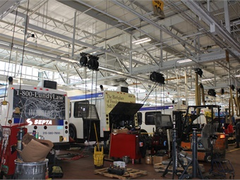 An example of the new energy efficient lighting installed at SEPTA's Berridge Shop. Photo: SEPTA