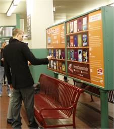 Commuters can access books and podcasts via QR codes on a platform at SEPTA's Suburban Station. Photo courtesy of SEPTA.Photo courtesy SEPTA.