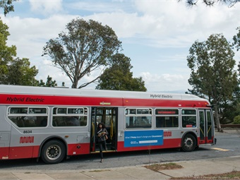 San Francisco Muni's fleet of low-emissions electric-hybrid vehicles run on battery, as well as clean, renewable diesel. Photo: SFMTA