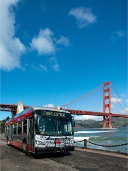 In recent years, the SFMTA has replaced over 90 percent of its older diesel buses with cleaner, more efficient electric hybrid vehicles that run on renewable diesel. Photo: SFMTA