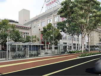 Scheduled to begin construction in 2016, the Van Ness Corridor Transportation Improvement Project (rendering shown) includes two miles of dedicated transit-only lanes that separate transit from traffic.