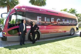 San Joaquin RTD GM/CEO Donna DeMartino and Proterra VP, Sales and Marketing, Ian Shackelton stand in front of one of SJRTD's two new Proterra EcoRide all-electric buses following the launch event earlier this week.