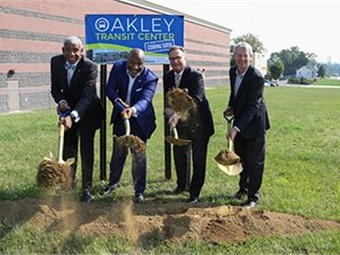 "The Oakley Transit Center will offer more convenient connections between five major Metro routes in addition to providing improved access to employment opportunities, medical services, shopping and entertainment in the area,"" said Metro CEO/GM Dwight A. Ferrell (far left). Photo: SORTA"