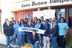 "Employees at Student Transportation Inc.'s Santa Barbara, Calif., terminal were among the contractor's staff members who supported the Stomp Out Bullying campaign's ""Blue Shirt Day"" on Monday."