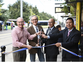 City and UC Davis officials joined SacRT GM/CEO Henry Li (far right) for the ribbon cutting.SacRT