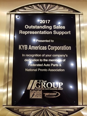 KYB Americas Corp. was awarded Sales Representation Support Vendor of the Year from The Group.