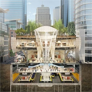At one million square feet, the new Salesforce Transit Center stretches four blocks with four stories above ground and two stories below. Rendering: © Steelblue