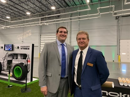 Tire dealers from all over the U.S. and Canada attended the Nokian opening, including the father-son duo of Mark (right) and Sam Rhodes from Plaza Tire Service.