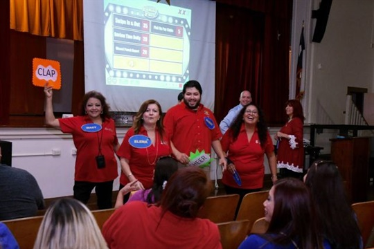 """San Antonio ISD's back-to-school training included a """"Family Feud"""" session with safety questions."""