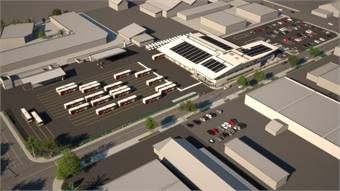 A rendering of the East County Bus Operations and Maintenance Facility.