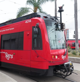 Using a front-mounted camera on a light rail vehicle that traveled on all three lines, a panorama of stitched images consisting of the entire San Diego MTS right-of-way was created.