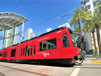 San Diego Metropolitan Transit System's Trolley at American Plaza. Photo: San Diego MTS