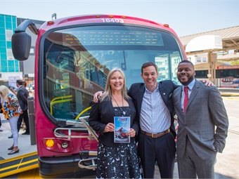RTD CEO Donna DeMartino, Proterra Inc. CEO Ryan Popple, and City of Stockton Mayor Michael Tubbs (left to right) are pictured in front of one of the new Proterra electric buses being used on BRT Route 44.