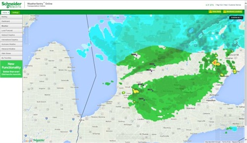 The map seen here in Schneider Electric's WeatherSentry Online program shows weather in Huron Perth's region.
