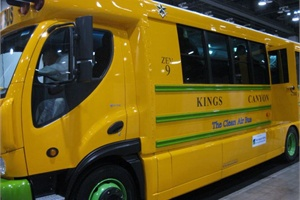 Officials from Trans Tech Bus revealed that Kings Canyon Unified School District in Reedley, Calif., would receive the first eTrans all-electric school bus.