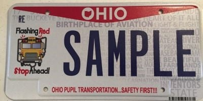 Shown here is a sample of Ohio's school bus safety license plate.