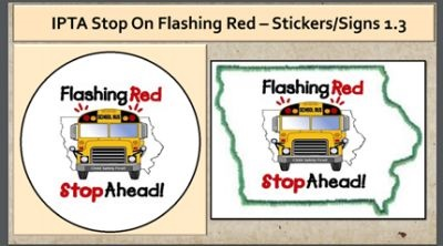 Iowa's school bus safety decal can be placed on special decal plates — or on car bumpers, windows, or elsewhere.
