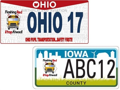 "After Ohio and Iowa launched ""Flashing Red — Stop Ahead"" specialty plates, NASDPTS aims to help other states create similar plates to promote stopping for school buses."