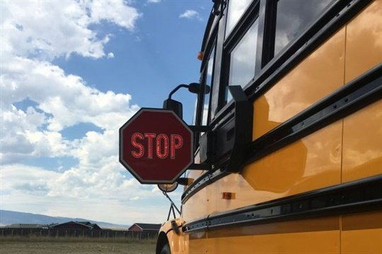 Nearly 10,000 illegal passes of school buses in Kansas were reported in a 30-day survey. File photo courtesy Sheridan County (Wyo.) School District