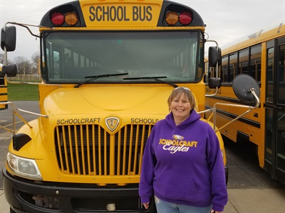 Schoolcraft (Mich.) Community Schools bus driver Bobbi Jo McMillan is one of eight drivers who have trained to help students with online learning. Photo courtesy Schoolcraft Community Schools