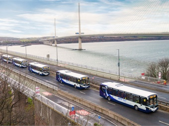 The bus will use both on-road and hard shoulder running, and will use the dedicated public transport corridor across the Forth Road Bridge that allows buses and taxis to use dedicated lanes between the M9 near Newbridge and Halbeath in Fife.