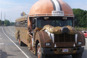 In our new photo gallery, we feature shots of school buses that have been painted and reconstructed for a variety of purposes. This converted bus serves as a tailgate vehicle supporting the Cleveland Browns.