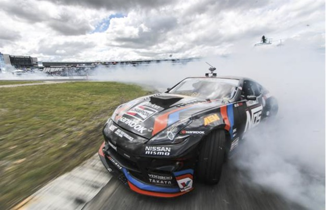 Hankook Tire driver Chris Forsberg maintains pole position at Formula Drift Round 7 in Irwindale, Calif.