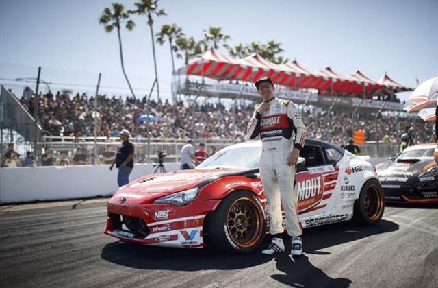 Hankook driver Ryan Tuerck celebrates his podium finish this weekend in Long Beach, Calif.