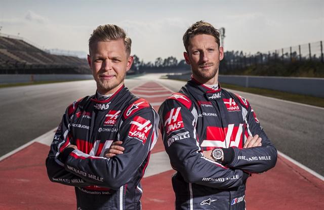 Haas F1 Team drivers for the 2018 season,Kevin Magnussen andRomain Grosjean.
