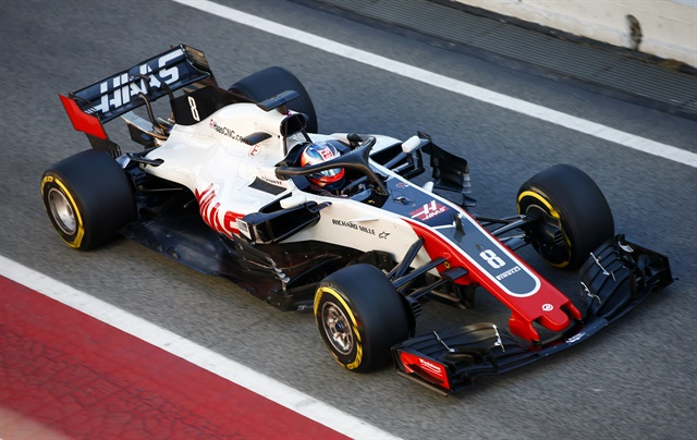 Grosjean'sHaas VF-18 set the highest lap count of the day.